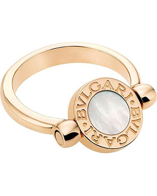 BVLGARI | Metallic - 18kt Pink-gold, Black-onyx And Mother-of-pearl Ring | Lyst