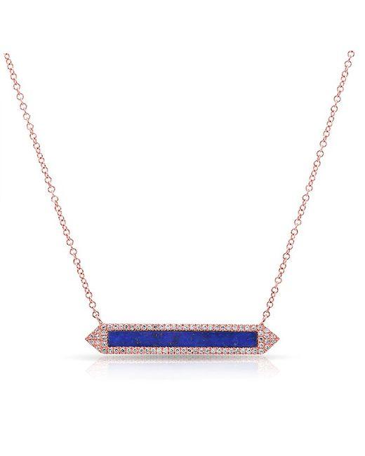 Anne Sisteron - Multicolor 14kt White Gold Lapis Diamond Bar Necklace - Lyst