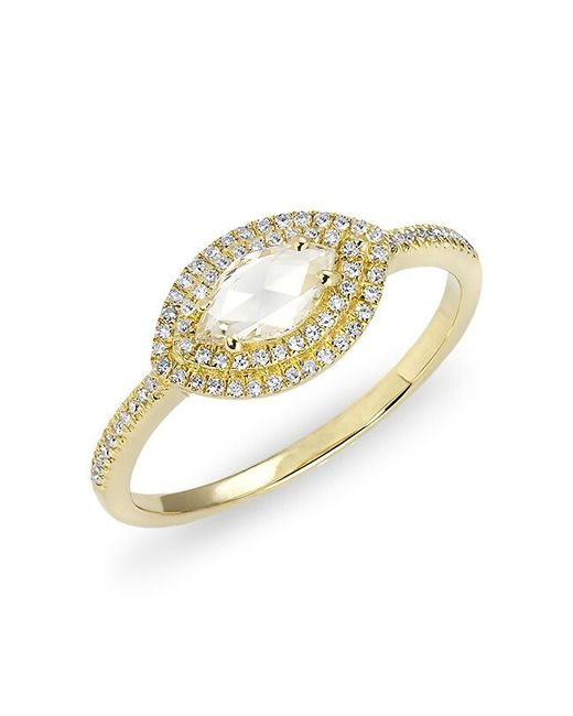 Anne Sisteron | Metallic 14kt Yellow Gold Diamond Marquis Double Halo Ring | Lyst