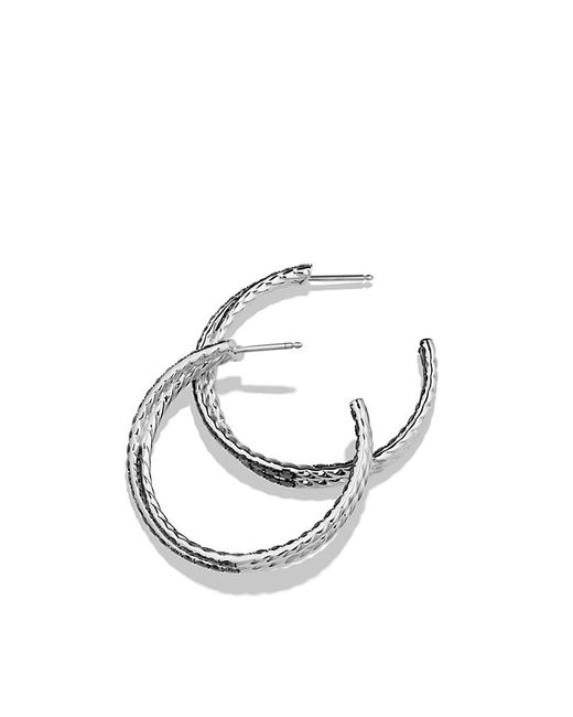 David Yurman | Crossover Hoop Earrings With Black Diamonds In 18k White Gold | Lyst