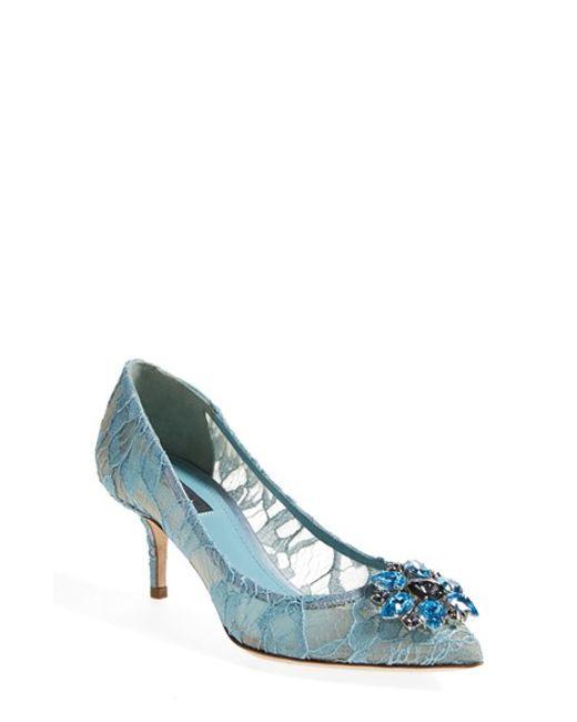 Dolce & Gabbana   Blue Crystal-Embellished Lace Pumps   Lyst