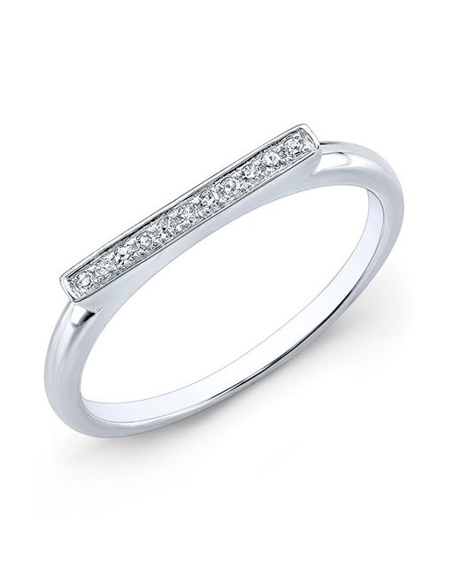 Anne Sisteron | Metallic 14kt White Gold Diamond Long Bar Ring | Lyst