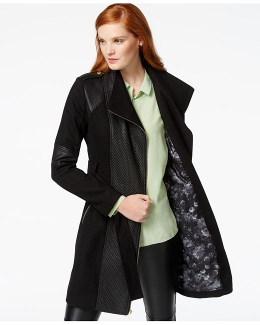 Guess Mixed Media Asymmetrical Zip Coat In Black Lyst