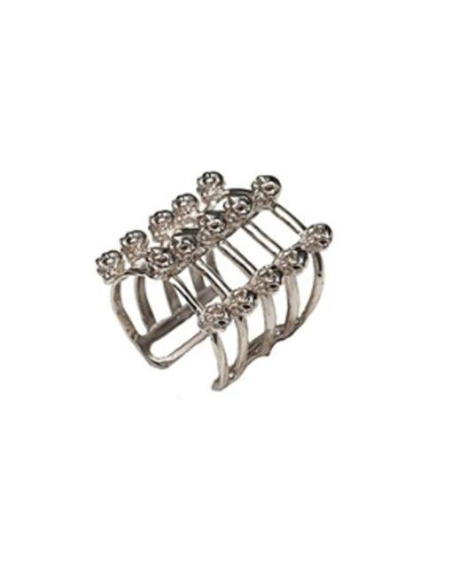 Bernard Delettrez | Metallic Cage And Skulls Silver Ring | Lyst