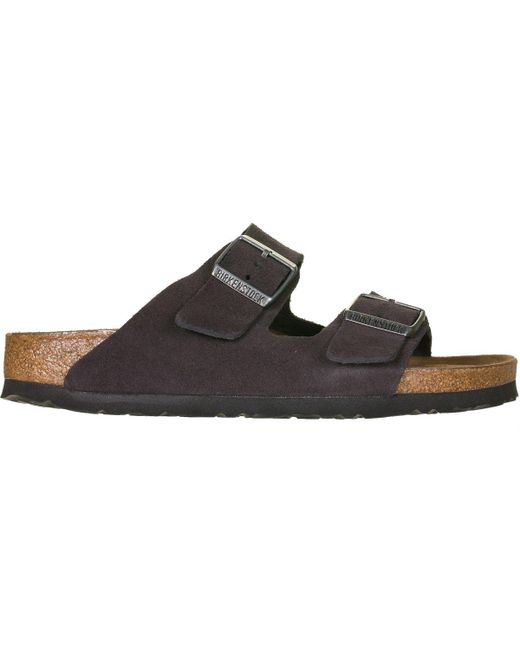 a4bab6f3ae5 Lyst - Birkenstock Arizona Soft Footbed Suede Narrow Sandal in Brown