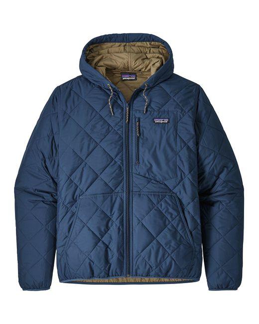 Patagonia Mens Quilted Bomber Jacket: Patagonia Synthetic Diamond Quilted Bomber Hooded Jacket