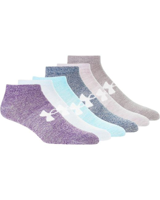 Under Armour | Purple Essential No-show Liner Socks - 6-pack for Men | Lyst