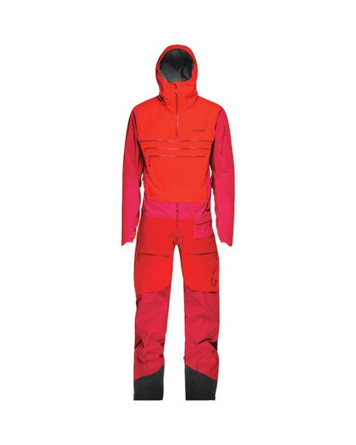 Norrona Red Lofoten Gore-tex Pro One-piece Suit for men