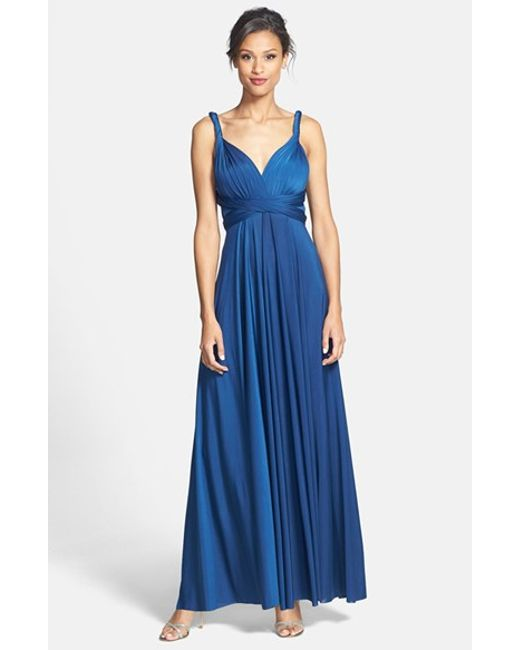 Dessy Collection | Blue Convertible Jersey Gown | Lyst