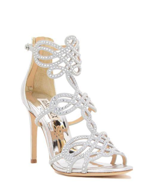 Badgley Mischka | Metallic Teri Embellished Strap Evening Shoe | Lyst
