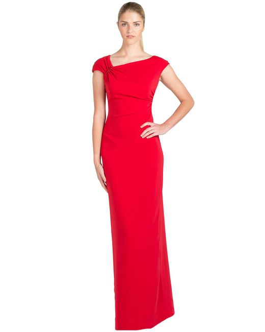 Badgley Mischka | Shirred Shoulder Odessa Evening Gown | Lyst
