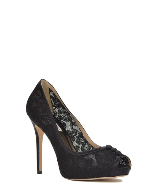Badgley Mischka | Black Nerissa Lace Pump Evening Shoe | Lyst
