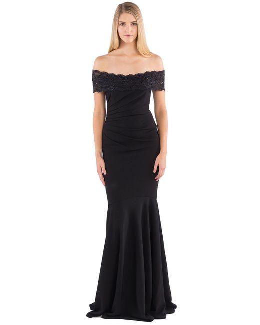 Badgley mischka Beaded Off-the-shoulder Evening Gown in Black | Lyst