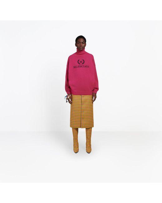 e8dbe17e5847 ... Balenciaga - Pink Embroidery Turtleneck Sweater - Lyst ...