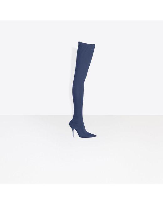 BalenciagaDenim Print Knife Thigh-High Boots 6gdE5y