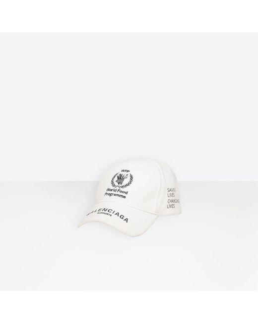 71590de5184 ... Balenciaga - White World Food Programme Cap for Men - Lyst