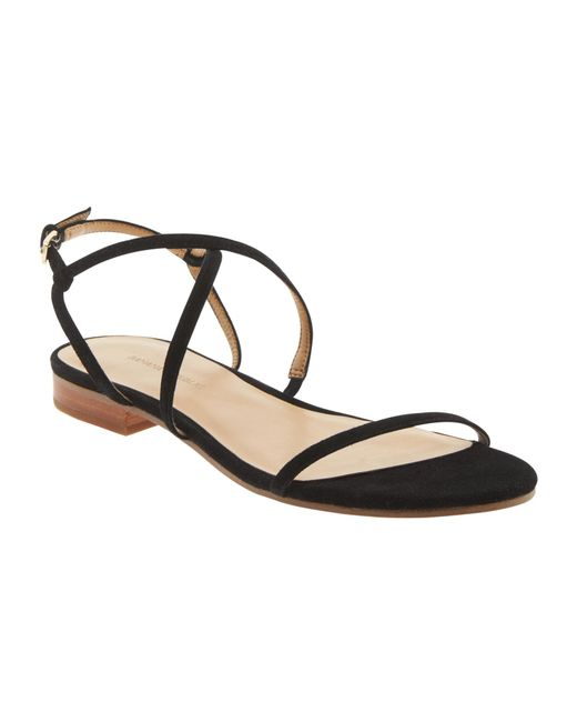 Banana republic Talia Leather Sandal in Black | Lyst