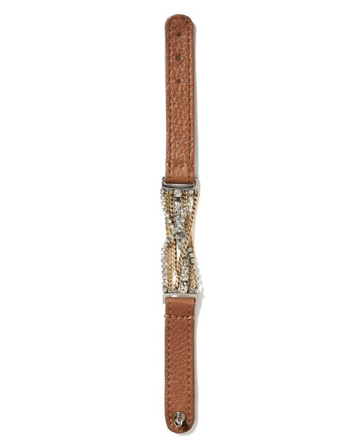 Banana republic Leather And Chain Bracelet in Brown | Lyst