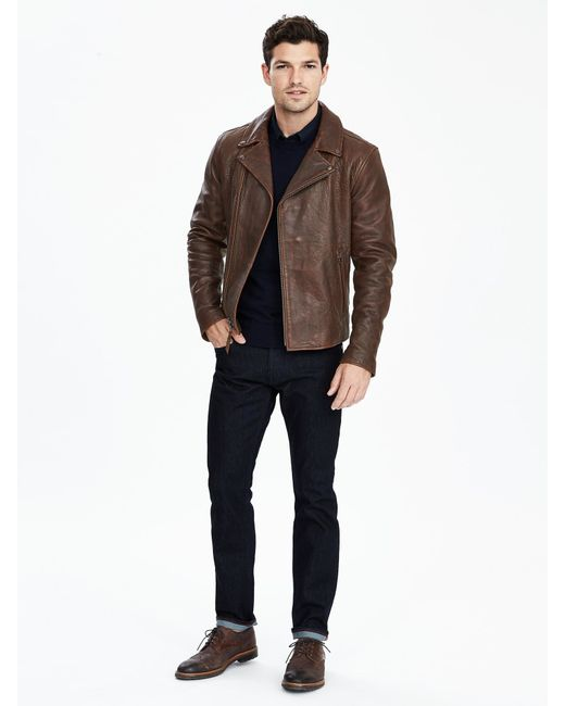 Banana Republic Leather Moto Jacket In Brown For Men Lyst