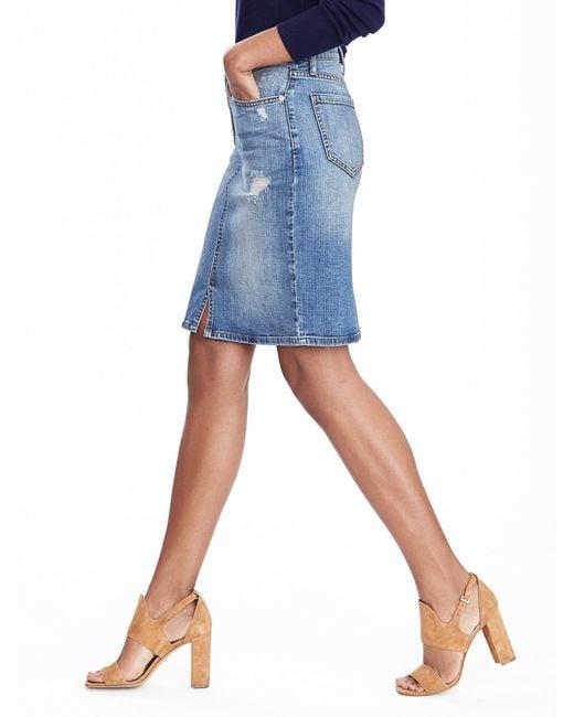 banana republic denim skirt in blue medium wash lyst