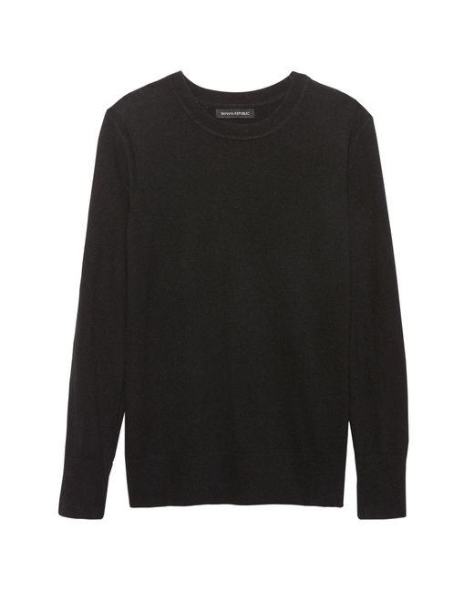 Banana Republic - Black Italian Merino-blend Crew-neck Sweater - Lyst