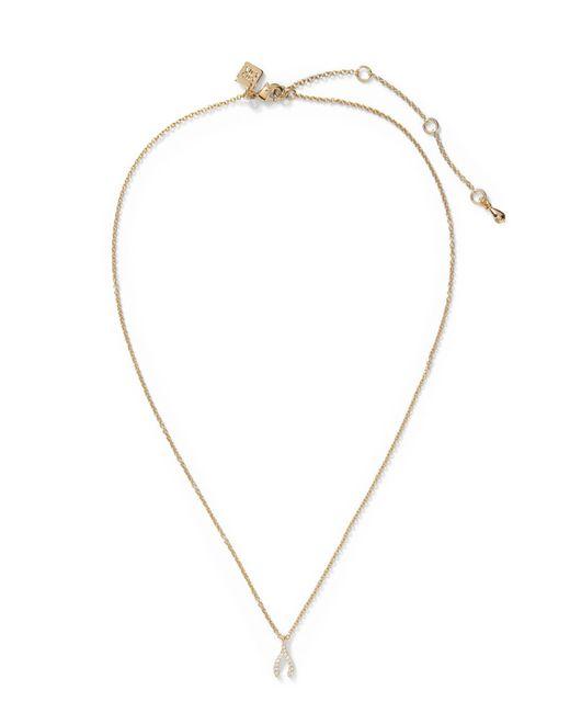 Banana Republic - Metallic Pave Wishbone Pendant Necklace - Lyst