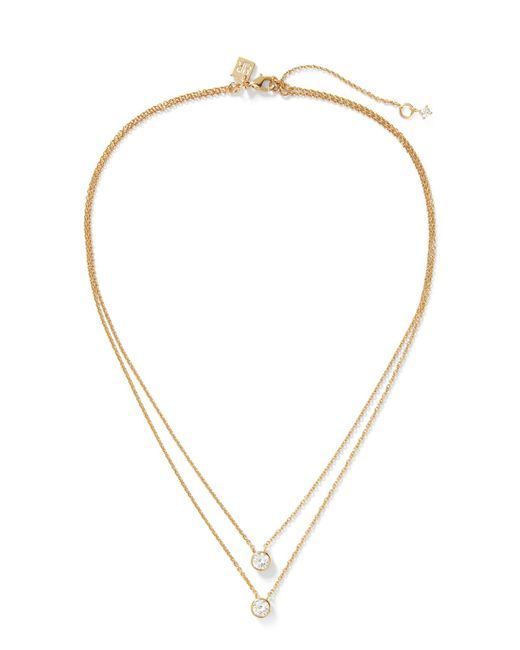 Banana Republic - Metallic Embedded Stone Layer Pendant Necklace - Lyst