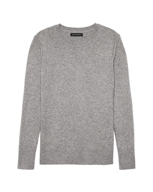 Banana Republic - Gray Petite Italian Merino-blend Crew-neck Sweater - Lyst
