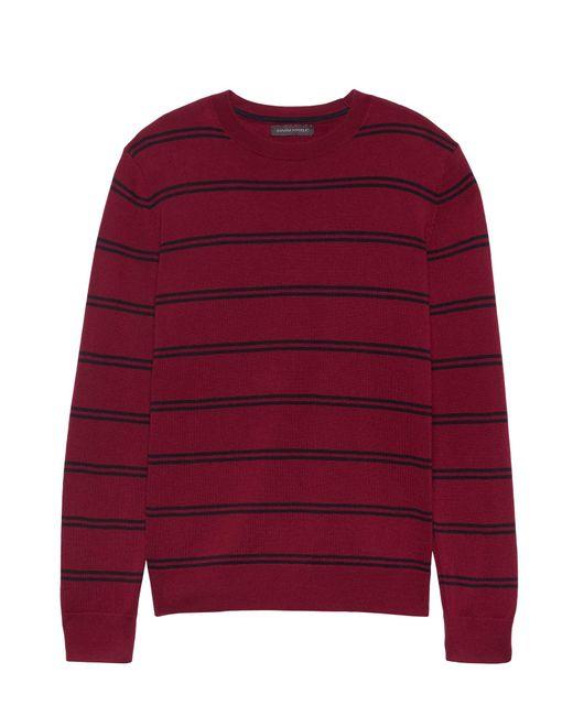 Banana Republic - Red Italian Merino Stripe Sweater - Lyst
