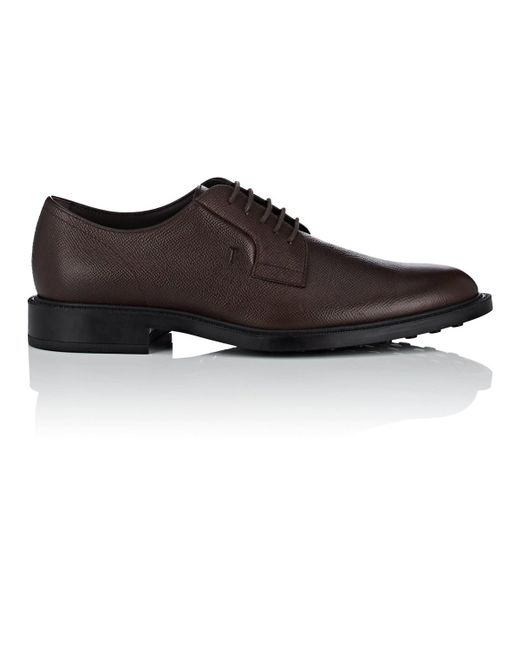 Tod's - Brown Saffiano Leather Bluchers for Men - Lyst