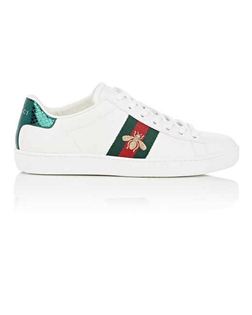 a2fd3e2537a Gucci New Ace Leather Sneakers in White - Save 18% - Lyst