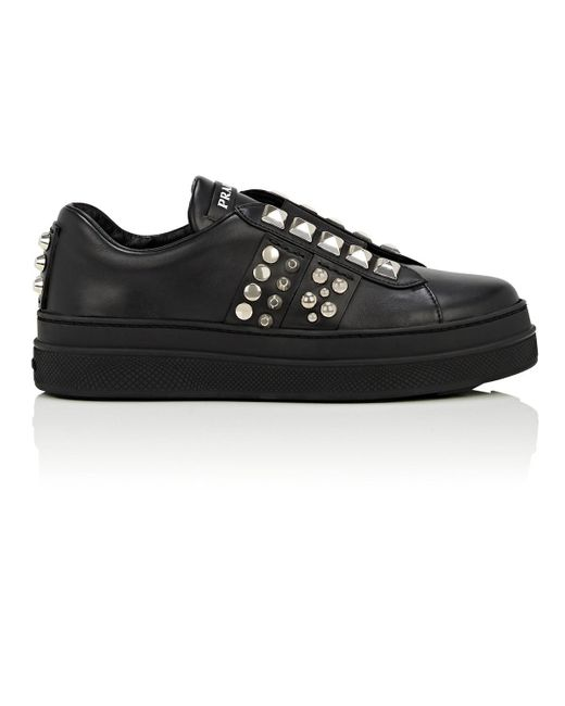 Prada - Black Studded Leather Sneakers - Lyst