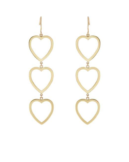 Jennifer Meyer - Metallic Open Heart Triple-drop Earrings - Lyst