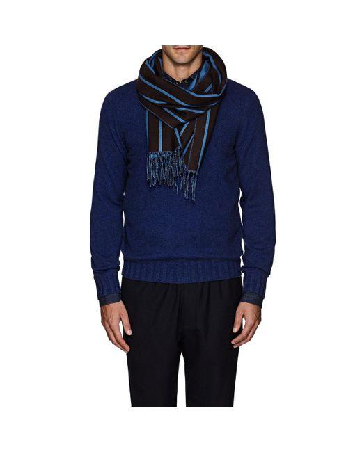 Bigi - Brown Fringed Striped Wool Scarf for Men - Lyst