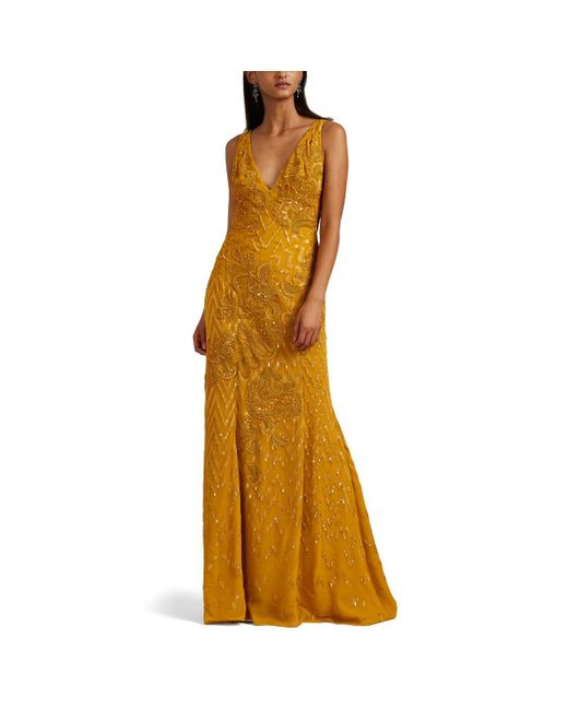 J. Mendel - Metallic Embellished Silk Gown - Lyst
