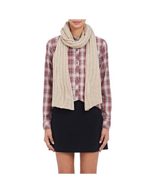 Barneys New York Natural Rib-knit Cashmere-silk Scarf