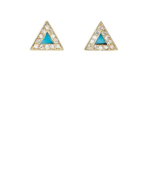 Jennifer Meyer - White Diamond & Turquoise Triangle Stud Earrings - Lyst