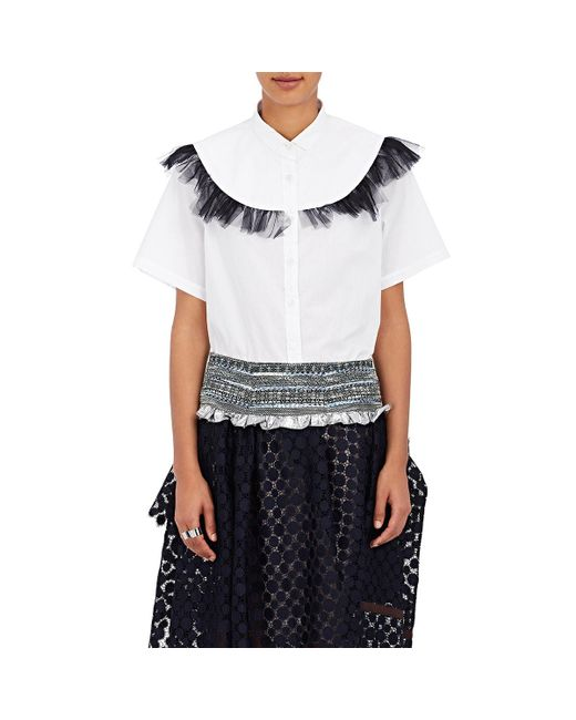 Kolor | White Cotton Ruffle Shirt | Lyst