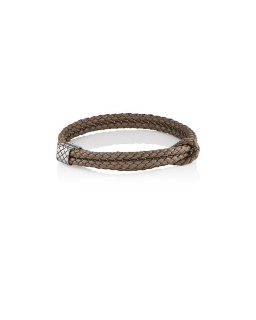 Bottega Veneta - Gray Sterling Silver & Intrecciato Leather Bracelet for Men - Lyst