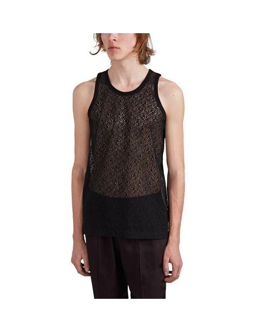 ba6005605dfd4 Helmut Lang - Black Cotton-blend Lace Tank Top for Men - Lyst ...