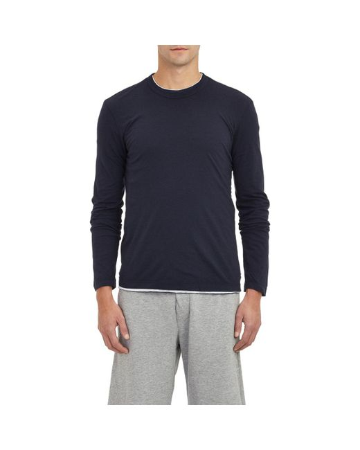 James Perse | Blue Jersey Long Sleeve T for Men | Lyst