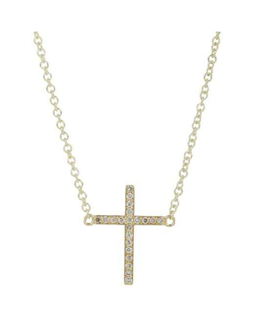 Jennifer Meyer | Metallic Diamond Mini Cross Necklace | Lyst