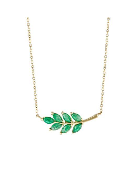 Finn | Green Emerald Leaf Charm Necklace | Lyst