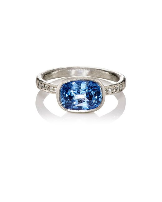 Malcolm Betts | White Diamond & Blue Sapphire Ring | Lyst