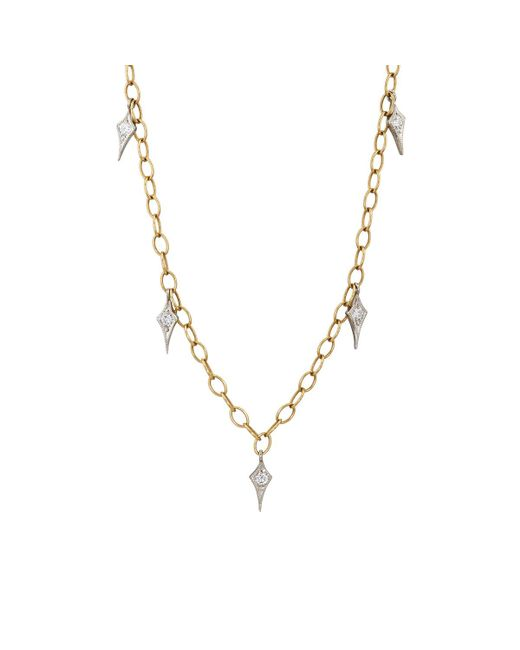 Cathy Waterman | Metallic Gold & Diamond Fringe Tiny Lacy Chain Necklace | Lyst
