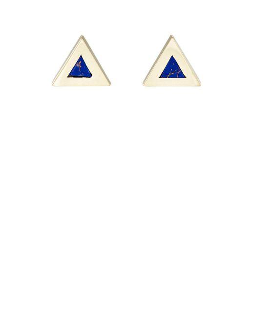 Jennifer Meyer - White Inlay Triangle Stud Earrings - Lyst