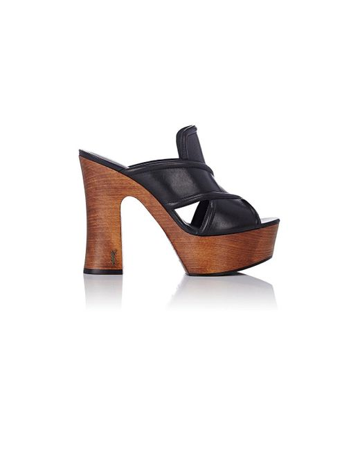 Saint Laurent | Black Leather Platform Clogs | Lyst
