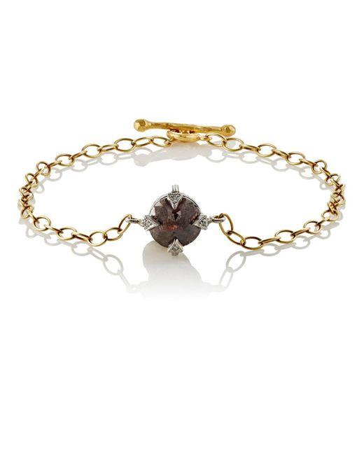 Cathy Waterman - Metallic Rustic Diamond Charm Bracelet - Lyst