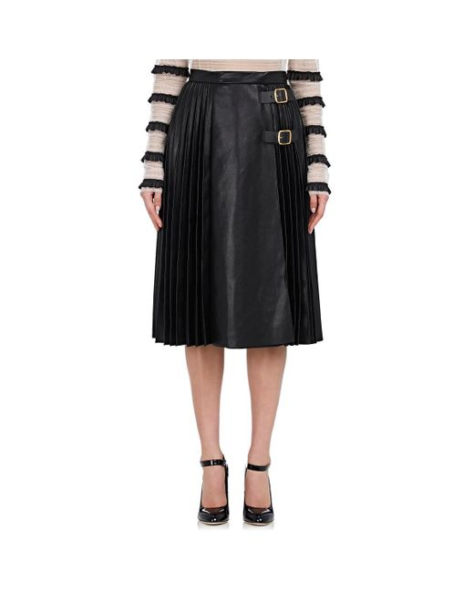 Philosophy Di Lorenzo Serafini - Black Pleated Leather Midi-skirt - Lyst