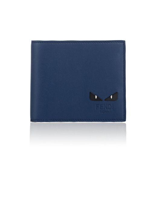Fendi - Blue Bag Bugs Leather Billfold for Men - Lyst
